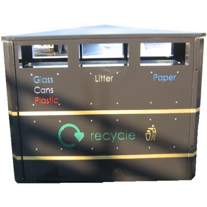 Mk3 3 Way Recycling Bin Street Furniture Suppliers
